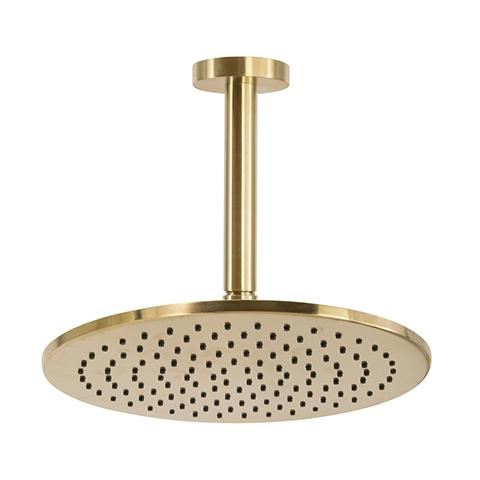 SCARAB RAIN SHOWER WITH CEILING ARM BRUSHED GOLD