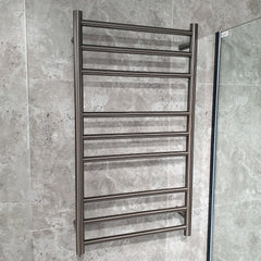 ELITE CODE ROUND HEATED TOWEL LADDERS GUNMETAL - 4 SIZES