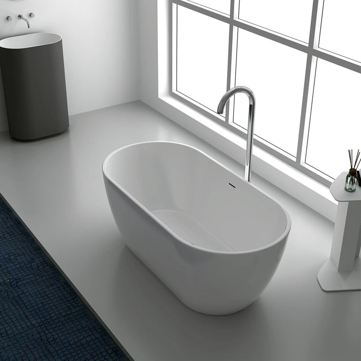 COCO FREE STANDING BATH 1600MM GLOSS WHITE ACRYLIC - WITH OVERFLOW