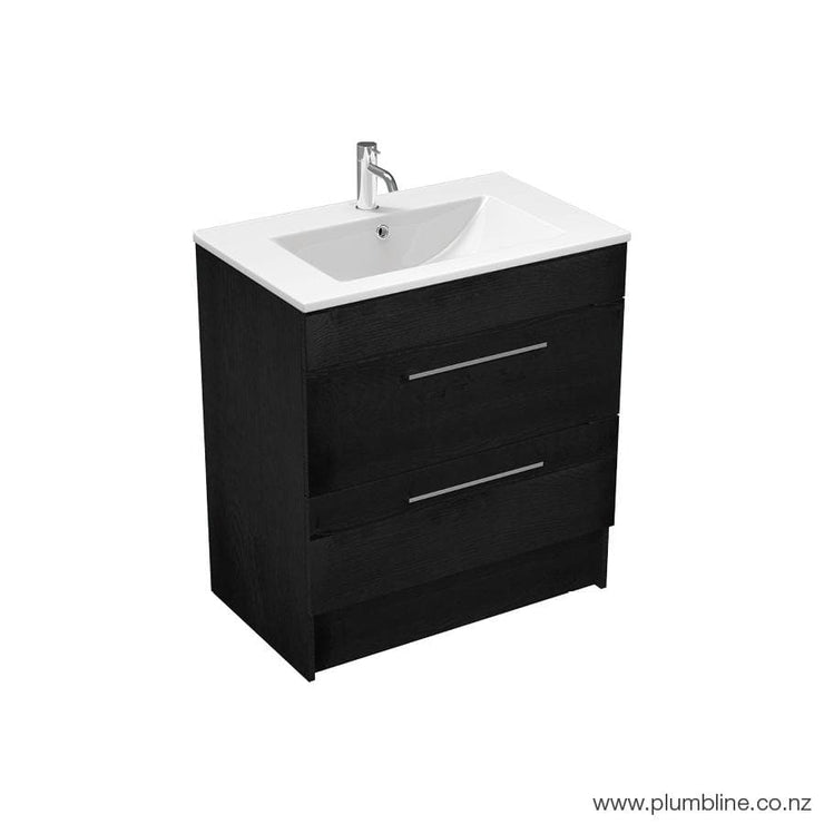 MIA 750 2 DRAWER FLOOR-STANDING BLACK OAK VANITY EX DISPLAY 1 ONLY!