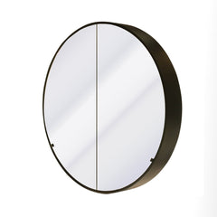 CODE 900MM ROUND BLACK MIRROR CABINET