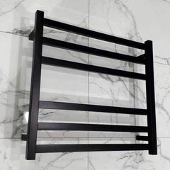 ELITE SQUARE HEATED TOWEL LADDER 600X650MM BLACK