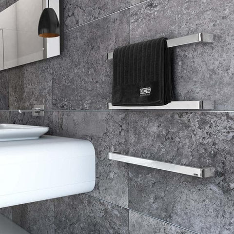 DCSHORT CURVESTONE HEATED TOWEL RAIL 832MM MIRROR