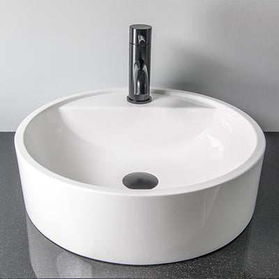ELITE HALO ROUND QUARTZ BASIN WITH TAP HOLE 430X120MM 5 COLOURS