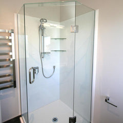 FRAMELESS GLASS SHOWER QUADRANT ANGLED FRONT