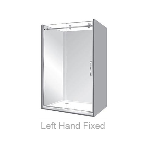 ACRYLIC LUXURY FRAMELESS SLIDING SHOWER KIT - ALCOVE