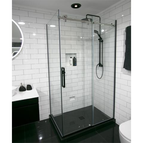 Tiled Centre Waste Luxury Frameless Sliding Shower Kit 2