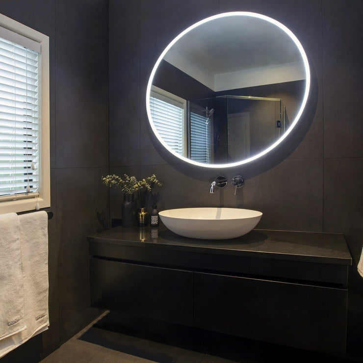 ELITE NEO ROUND LED WHITE FRAMED MIRROR 850MM