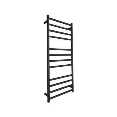 ELITE ROUND HEATED TOWEL LADDER 1200X500MM BLACK