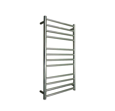 ELITE ROUND HEATED TOWEL LADDER 1200X500MM STAINLESS STEEL