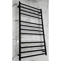 ELITE ROUND HEATED TOWEL LADDER 1200X650MM BLACK