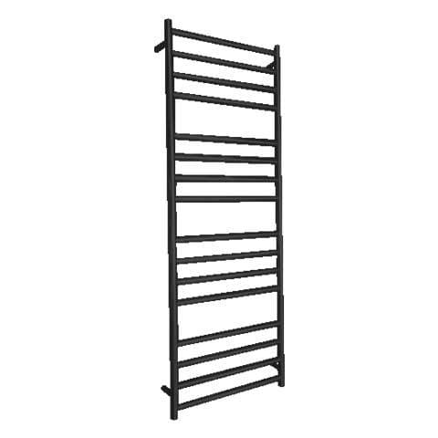 ELITE ROUND HEATED TOWEL LADDER 1600X600MM BLACK