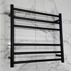 ELITE ROUND HEATED TOWEL LADDER 600X650MM BLACK