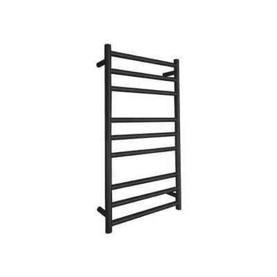 ELITE ROUND HEATED TOWEL LADDER 900X500MM BLACK