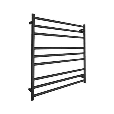 ELITE ROUND HEATED TOWEL LADDER 900X850MM BLACK