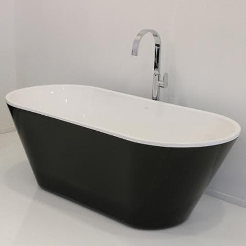 PLUMBLINE EVO FREESTANDING BATH 1670X750X600MM BLACK/WHITE