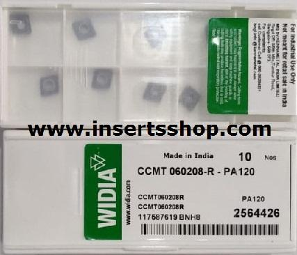 CCMT 060208 PA120  , Inserts , Turning Inserts , PA120 , CCMT06  , WIDIA, 1 Set = 10 Nos. - Inserts Shop