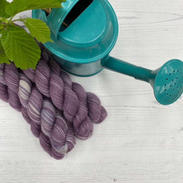 British Stein Fine Wool® 4ply -  Mini Skein Purple Stripe