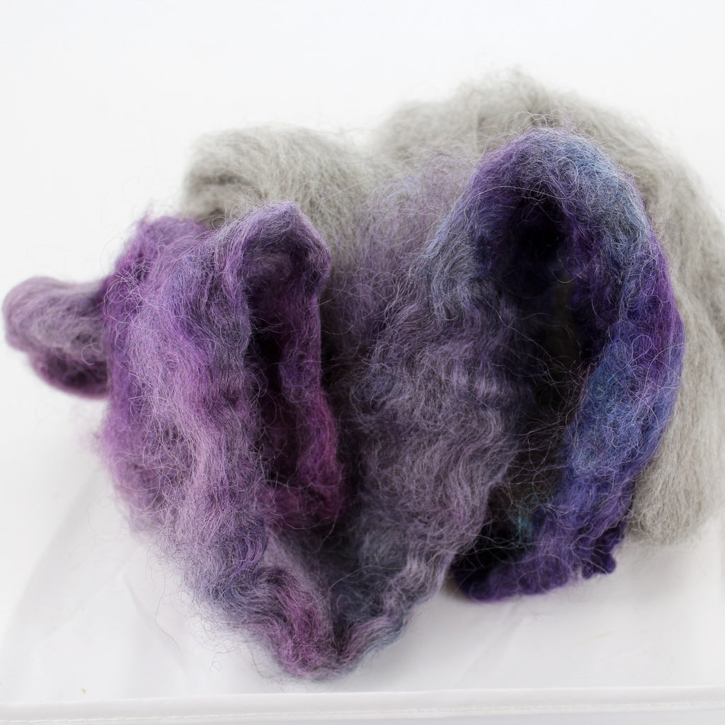 Gotland Top - Hand Dyed Purples and Natural Greys - The Little Grey Sheep