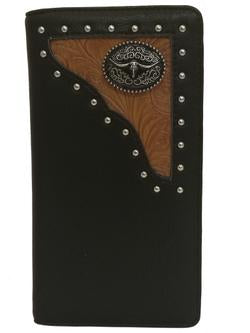 WESTERN LONGHORNS CHECKBOOK BI FOLD MEN'S & WOMEN'S GENUINE LEATHER BLACK/TAN WALLET