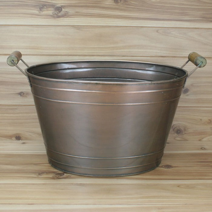 PLAIN COPPER TOP BUCKET OVAL TUB WESTERN HOME DECOR METAL ART--BRAND NEW