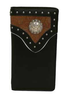 WESTERN LONE STAR COWBOY CHECKBOOK BI FOLD MEN'S & WOMEN'S GENUINE LEATHER BLACK/TAN WALLET