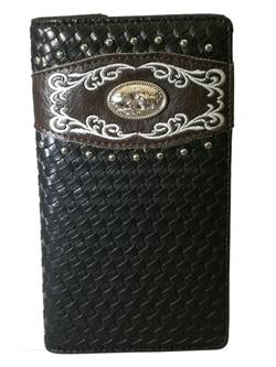 WESTERN PRAYING COWBOY CHECKBOOK BI FOLD MEN'S & WOMEN'S GENUINE LEATHER BLACK WALLET