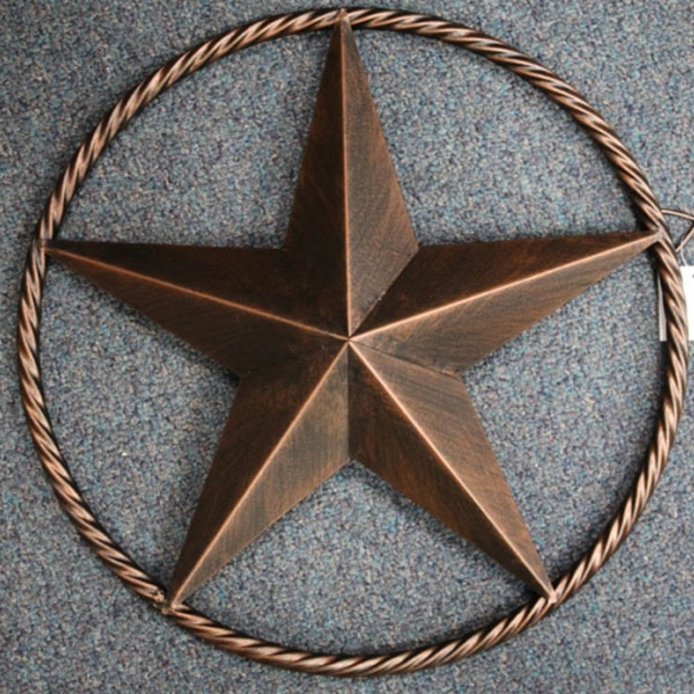 "12"" LONE STAR BARN STAR TWISTED ROPE RING METAL ART WESTERN HOME DECOR VINTAGE RUSTIC BRONZE ART NEW--FREE SHIPPING"
