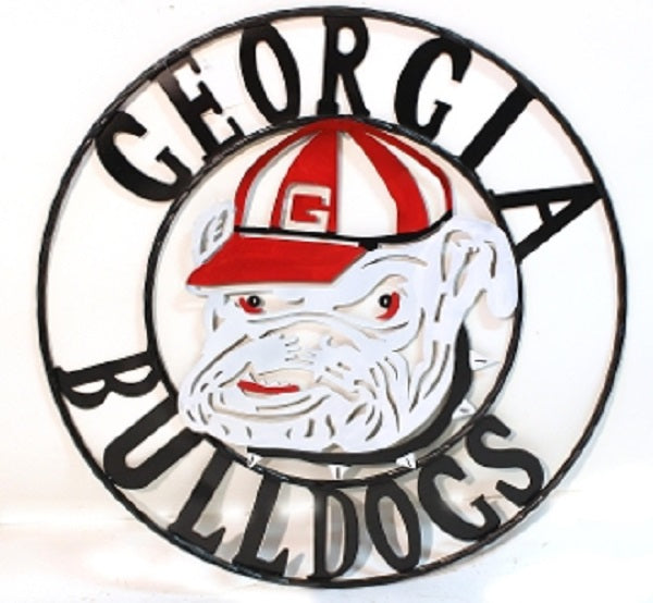 GEORGIA BULLDOGS METAL CUSTOM VINTAGE ART