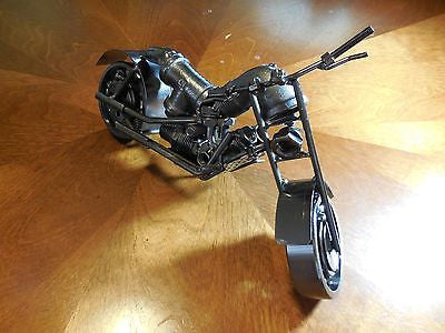 "HARLEY DESIGN MOTORCYCLE METAL ART SCULPTURE HAND CRAFT WESTERN HOME BAR DECOR ART 10.5""LONG--FREE SHIPPING"
