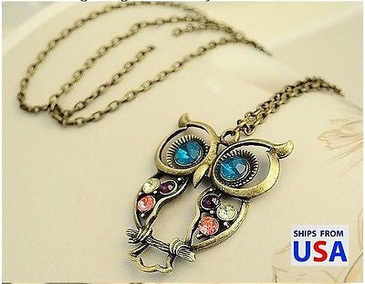 Crystal Owl Pedants Neckalce Vintage Jewelry For Women 2016 New Statement Collar