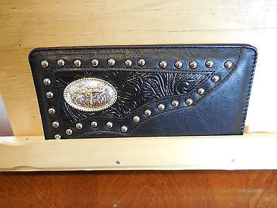 TEXAS LONGHORN CHECKBOOK BI FOLD MEN'S & WOMEN'S GENUINE LEATHER BLACK WALLET