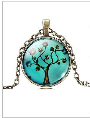 LIFE TREE PENDANT NECKLACE GLASS CABOCHON BRONZE CHAIN VINTAGE CHOKER WOMEN