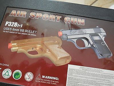 P328 BB GUN TOY PISTOL TWIN SET AIRSOFT SPRING BLACK/GOLD BRAND NEW