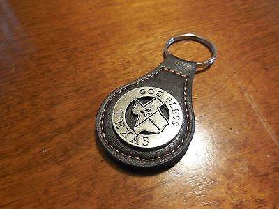 GOD BLESS TEXAS LEATHER METAL KEY FOB CHAIN WESTERN FASHION ART BRAND NEW