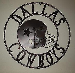 "24"", 32"" DALLAS COWBOYS METAL WALL ART WESTERN HOME DECOR VINTAGE RUSTIC BROWN NEW"