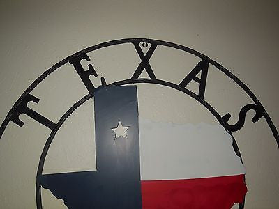 "32"" STATE OF TEXAS BARN METAL WALL ART WESTERN HOME DECOR VINTAGE RUSTIC RED WHITE BLUE ART NEW"