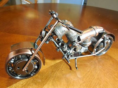 "HARLEY DESIGN MOTORCYCLE METAL ART SCULPTURE HAND CRAFT WESTERN HOME BAR DECOR ART 10.5"" LONG--FREE SHIPPING"