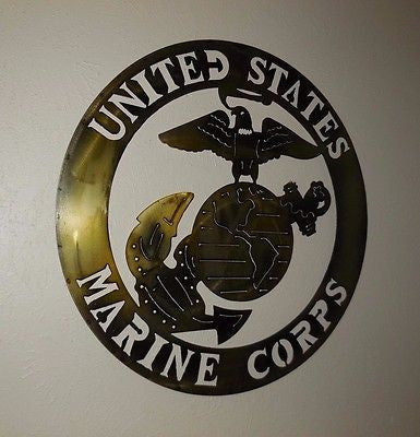 "24"" USA MARINE CORPS MILITARY METAL WALL ART DECOR WESTERN HOME DECOR NEW"