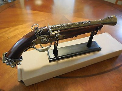 Replica Antique Pistol Table Gun w/Stand - Model 1760 -  18th Century Decor New