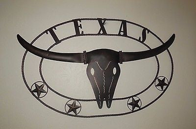 "42"" X 26"" TEXAS LONGHORNS METAL ART WALL DECOR WESTERN HOME DECOR NEW RUSTY BROWN NEW"
