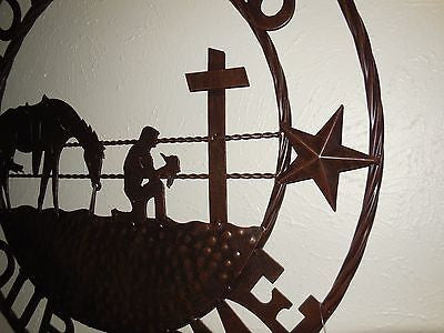 "24"",32"" GOD BLESS OUR HOME COWBOYS PRAYER CROSS METAL WALL ART WESTERN HOME DECOR NEW"
