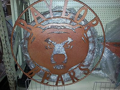 "36"" BAYLOR BEARS METAL WESTERN WALL ART HOME DECOR BRAND NEW BRONZE LARGE SIZE"