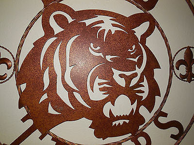 "12:,18"",24"",32"",36"" LSU TIGERS METAL WALL ART WESTERN HOME WALL DECOR HAMMERED COPPER NEW"
