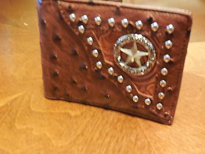 OSTRICH LEATHER TAN MENS STUDDED LONE STAR CONCHO BIFOLD LEATHER WALLET NEW