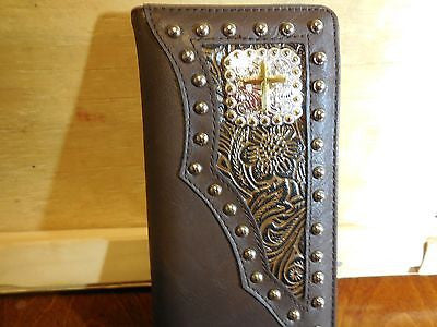 WESTERN CROSS CHECKBOOK BIFOLD MEN'S & WOMEN'S WALLET GENUINE LEATHER NEW