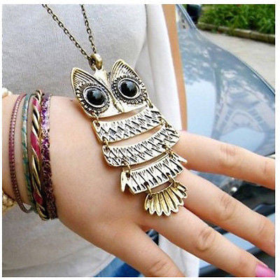 VINTAGE JEWELRY CRYSTAL OWL PENDANTS NECKLACE ANCIENT THE OWL SWEATER BRONZE NEW