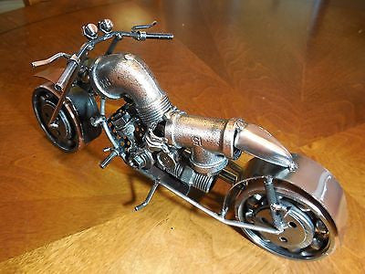 "12"" HARLEY DESIGN MOTORCYCLE METAL ART SCULPTURE HAND CRAFT WESTERN HOME BAR DECOR ART LONG--FREE SHIPPING"