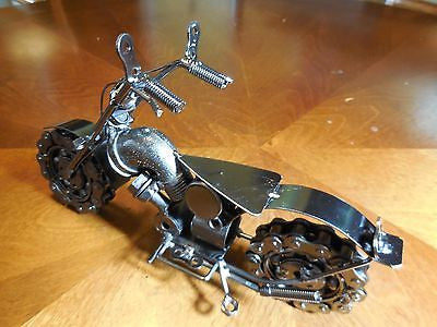 "HARLEY DESIGN CHOPPER MOTORCYCLE METAL ART SCULPTURE HAND CRAFT WESTERN HOME BAR DECOR ART 10.5"" LONG-FREE SHIPPING"