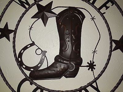 "24"" WELCOME COWBOY BOOT STARS METAL WALL WESTERN HOME DECOR NEW"